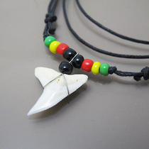 New Sexy Reggae Surfer Real Authentic Shark Tooth Fossil Pendant Cotton Necklace Photo