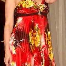 New Sexy Roberto Cavalli Bright Colors Mini Baby-Doll Dress Lace Stone Silk M  Photo
