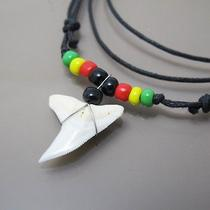 New Sexy Surfer Reggae Marley Peace Shark Tooth Fossil Pendant Cotton Necklace Photo