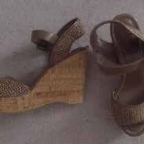 New Sexy Taupe  Gold Metallic Crochet 69  the Sak  Wedge Sandals Shoes  8  Nwt Photo