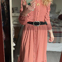 New Sezane Cora Midi Dress Pink Blush Size Eur 36 Uk 8 Boho Vintage Photo
