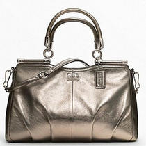 New Ships Free Coach Madison Metallic Leather Carrie Silver Bronze 21247 548 Photo