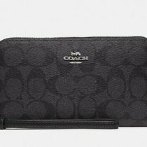 New Signature Coach Black Wristlet Wallet Purse Clutch Iphone Xs Max Galaxy Case Photo