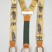 New Silk Leather Brass Polo Ralph Lauren Suspenders Braces Gold Golf Club Bags Photo