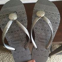 New Silver Metallic Havaianas Slim Ceramic Flip Flop Size 35-36 5 6 Photo