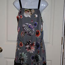 New Simply Vera Vera Wang Womens Gray Purple Red Floral Knee Length Dress Small Photo