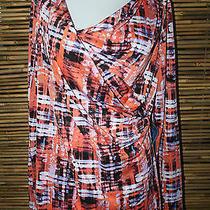 New  Simply Vera Wang Orange/lavender Multi Color Print Top Large Photo