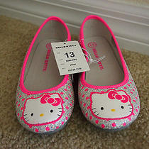 New Size 13 Junior Girl Hello Kitty Pink Hearts Silver Sparkly Ballet Flat Shoes Photo