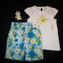 New Size 8 Gymboree Sea Splash Aqua Floral Shorts Fish Top Hair Barette Set Nwt Photo