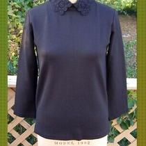 New Size M 6-8 Zara Black Knit Long Sleeve Top Victorian Style Crocheted Collar Photo