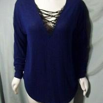 New Size Xl Bold Elements Blue W/black Lace Long Sleeve Top Chest 54