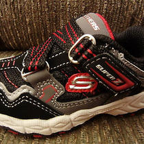 New Skechers Black Zstrap Sneakers Toddler Shoes Boys 5 Photo