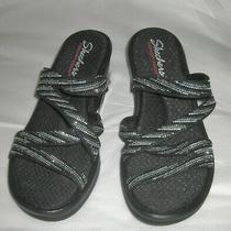 New Skechers Cali Memory Foam Strappy Sandals Sz 8 Black Sparkles No Box Photo