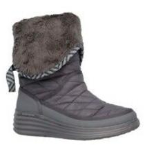 New Skechers Womens Size 6.5- Quilted Nylon Gray Winter Boot Adjustable Length Photo