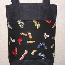 New Sm Denim Tote Bag Gift Handmade/w Fancy Shoes Shoe Fabric Photo
