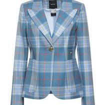 New Smythe Blue Plaid One Button Duchess Blazer Jacket Size 42 44 46 Photo