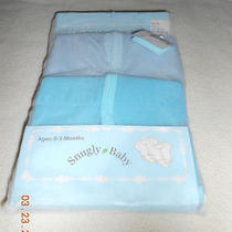 New Snugly Baby Two Pack Onesie Sets Diaper Creepers Age 0-3 Months Aqua Blues  Photo