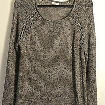 New Soft Joie Scoop Neck Cotton Taped Yarn Charcoal Sweater Top Size L Photo