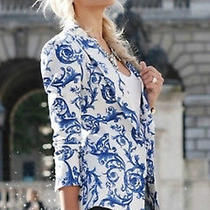 New Sold Out Zara Blue White China Ceramic Print Blazer Jacket M 40 Us 6 Uk 12 Photo