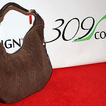 New Sondra Roberts Dark Brown Quilted Suede Leather Large Hobo Bag Purse Handbag Photo