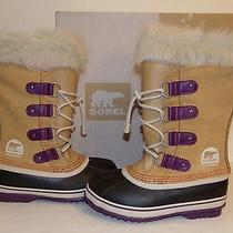 New Sorel Girls' Joan of Arctic Waterproof Boots Youth Size Us 1/eu 32 Curry Nib Photo