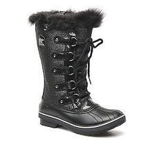 New Sorel Tofino Black Glitter Waterproof Leather Canvas Insulated Boots Sz 7 Photo