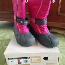 New Sorel Youth Flurry Girls Winter Boots Pink Rouge Blush Rose Sz 4 Uk 3 Eur 35 Photo
