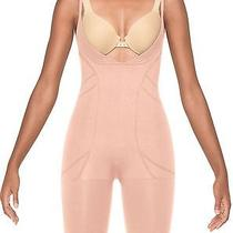 New Spanx 2325 Slimmer & Shine Open Bust Mid Thigh Shaper Bodysuit - Nude - M Photo