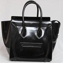 New Spazzolato Celine Limited Ed. Mini Black Luggage Leather Tote Bag Photo