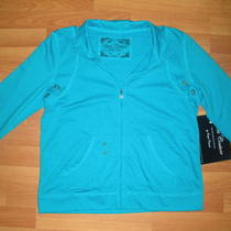 New Sport Couture Turquoise Blue Lightweight 3/4 Sleeve Jacket Sz M Photo