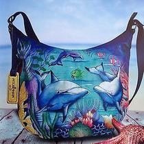 New Spring 2016 Anuschka Dolphin World Medium Bucket Hobo Handbag Purse Photo