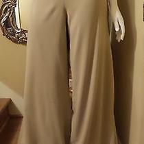 New St John Beige Brown 100% Silk Chiffon Pants Skirt Evening Sz 14-16 Rt 895 Photo