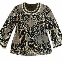 New St John Black Label Size 12 Black White Embellished Jacket Blazer Photo