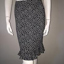 New St. John Black & White Sweater Knit Fluted Skirt 6 Photo