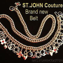 New St John Couture Swarovski Crystals 26 Charms Gold Hard to Find Belt Necklace Photo