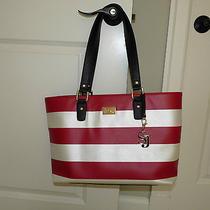New St John Knit Red Tan Saffiano Leather Tote Bag Handbag Photo