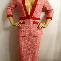 New  St John Knit Size 8 Cinnabar White & Blush Tweed Knit Skirt Suit Wool Photo