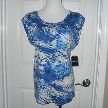 New St. John's Bay Ladies Top Short Sleeve Blue Splashes Medium Photo