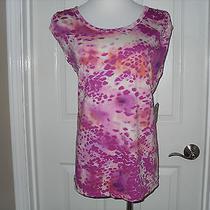 New St. John's Bay Ladies Top Short Sleeve Pink Splashes Medium Photo