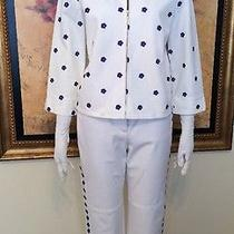 New St. John Sport White W/ Blue Flowers 2 Pc. Jeans Pant Suit Size S /6 Wow Photo