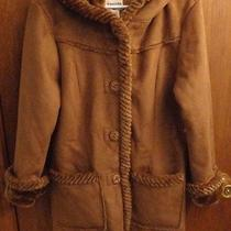 New St Johns Bay Brown Micro Suede Faux Fur Lining Hood Coat Womens L Photo