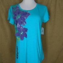New St Johns Bay M Aqua Blue W Purple 3-D Flowers T-Shirt Top 38