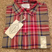 New St Johns Bay Mens Ls Brushed Flannel Shirt Size M Easton Brown Tartan Photo