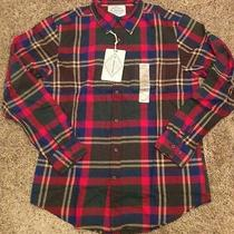 New St Johns Bay Mens Ls Brushed Flannel Shirt Size S Easton Brown Multi Plaid Photo