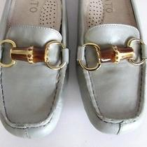 New Staccato Anthropologie Bamboo Gold Bit Loafers Slides Flats Driving Shoes 37 Photo