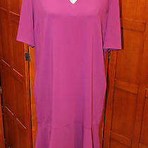 New Stella Mccartney Purple 3/4 Sleeve Fluted Hem v-Neck Dress 44 M 1140 Photo