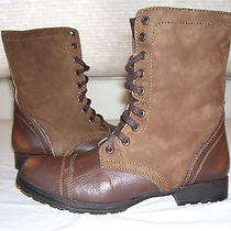 New Steve Madden Cameronn Brown Leather Grunge Ankle Combat Boots Sz 8.5 Photo