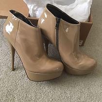 New Steve Madden Chelseey Blush Patent Nude Platform Boots Heels Sz 8.5 128 Photo