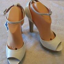 New Steve Madden Girl Menace White Peep Toe Platform Sandal Shoe Size 8.5 8 1/2 Photo