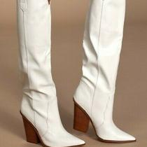 New Steve Madden Ranger Western Block Heel Knee-High White Pointed Toe Boots 5.5 Photo